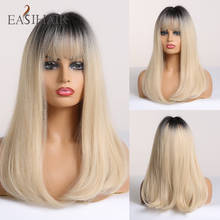 EASIHAIR Long Straight Black to Blonde Ombre Wigs with Bangs Synthetic Wigs for Women Cosplay Wigs Heat Resistant Light Blonde