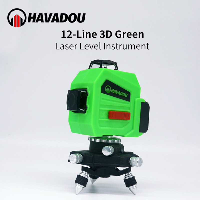 HAVADOU <font><b>12</b></font> <font><b>Lines</b></font> <font><b>3D</b></font> <font><b>Laser</b></font> <font><b>Level</b></font> Green 360 Horizontal & Vertical Cross <font><b>Laser</b></font> <font><b>Line</b></font> Self-Leveling 360 Adjustment Higher Visibility image