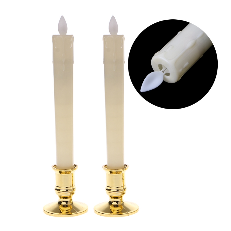 2Pc Electric Flickering Flameless Led Candle Lights With Removable Gold Base