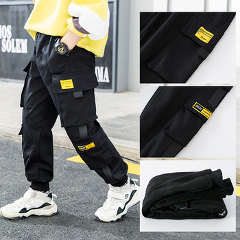 Spring Brand Kids Boys Pants Cotton Solid Cargo Pants  4-15 Year 3
