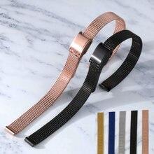 Alta qualidade universal pulseira de metal aço inoxidável 8mm 10mm 12mm 14mm 16mm 18mm 20mm 22mm 24mm pulseira milanesa
