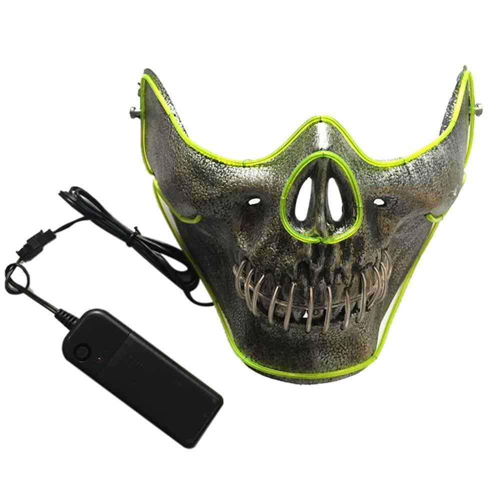 Mặt Nạ Halloween LED Maske Sáng Đảng Khẩu Trang Neon Maska Cosplay Mascara Kinh Dị Mascarillas Phát Sáng Trong Tối Mặt Nạ V cho vendetta