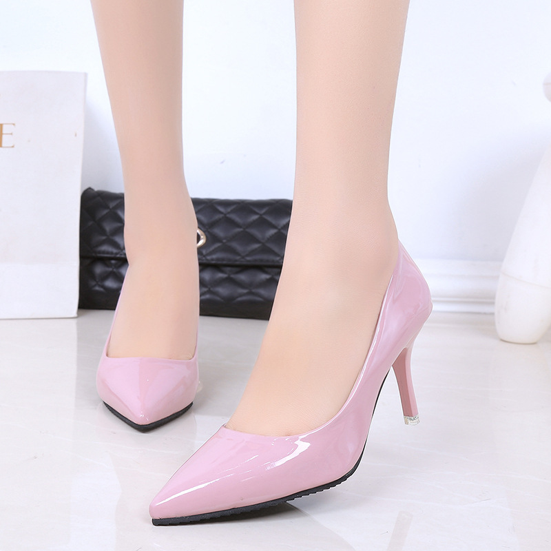 2019 Spring And Autumn High Documentary Shoe Thin Heeled Pointed Shallow Mouth Korean-style WOMEN'S Shoes Versitile Fashion Pate