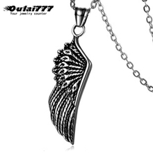 oulai777 men necklaces pendants stainless steel wing gifts mens accessories hip hop fashion 2019 man chain necklace