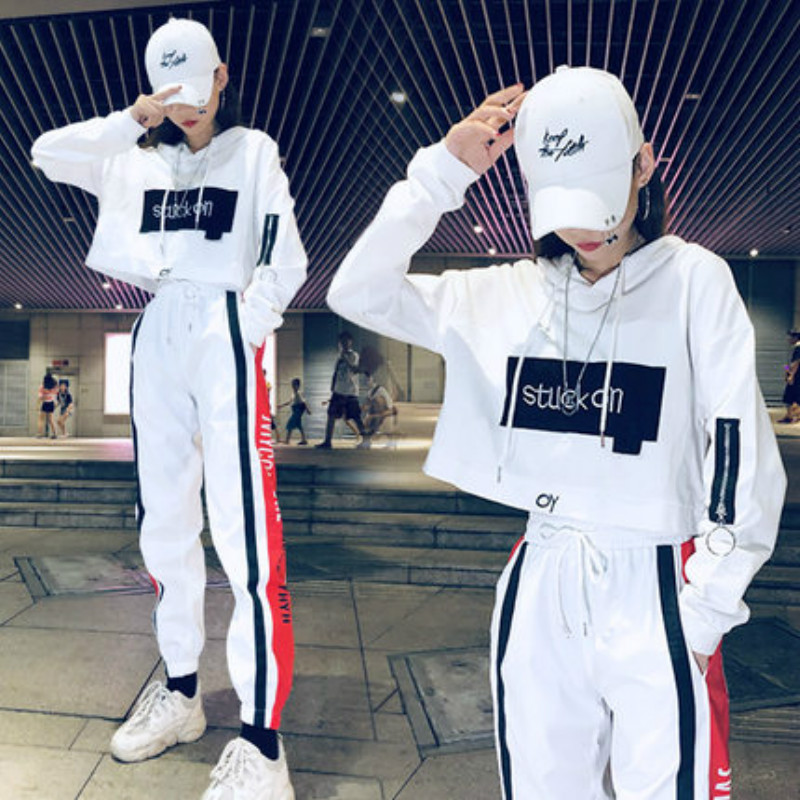 Tide brand suit chandal mujer 2 piezas female autumn Korean street dance hip hop leisure bf sports net red two-piece set women 23