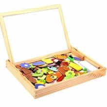 Детские деревянные животные магнетизм мольберт каракули доска для рисования головоломки доска игрушка