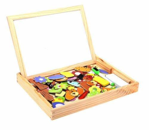 Kids Wooden Animal Magnetism Easel Doodle Drawing Board Jigsaw Blackboard Toy