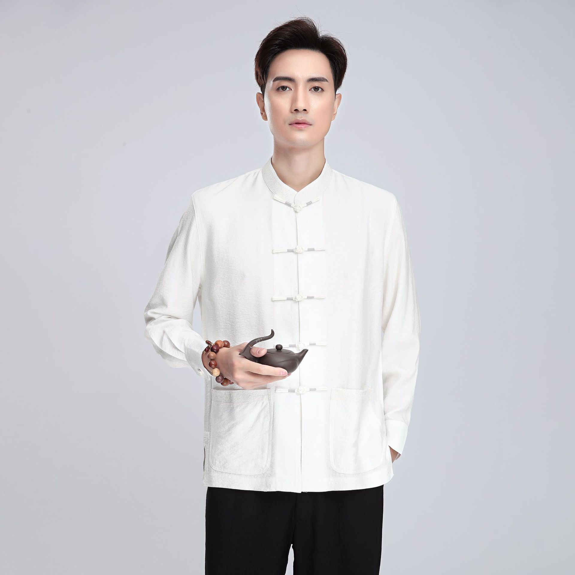 Chinese Style Mens Tops Tang Suit Traditional Kung Fu China Style Hanfu Shirt Linen Long Sleeve Solid Tang Colthing Plus Size image