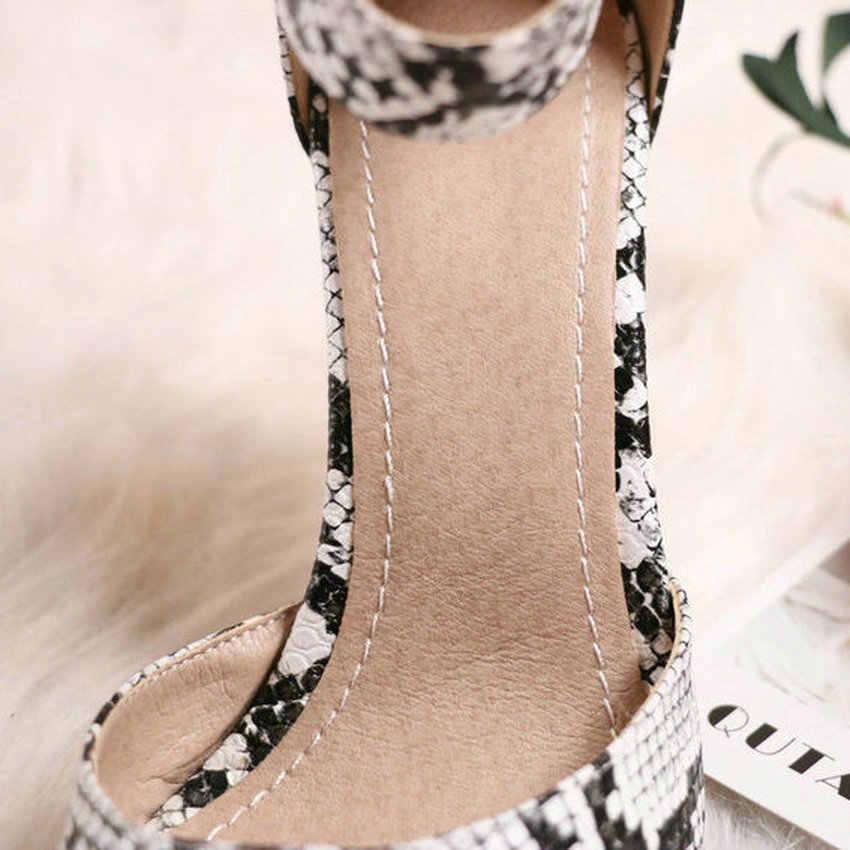 QUTAA 2020 moda Snakeskin PU deri kadın ayakkabı kare yüksek topuk kadın pompaları seksi sivri burun toka bayan ayakkabı boyutu 34-43