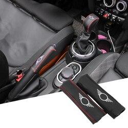 غطاء مقبض ناقل الحركة من الجلد الطبيعي للسيارة تزيين فرامل اليد لميني كوبر F54 F55 F56 F60 كماليات السيارة