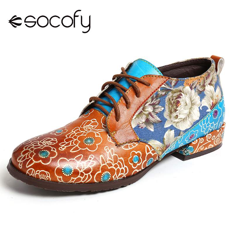 Socofy Retro Casual Flowers Genuine Leather Lace Up Flats Ladies Shoes Elegant Shoes Women Botines Mujer 2020
