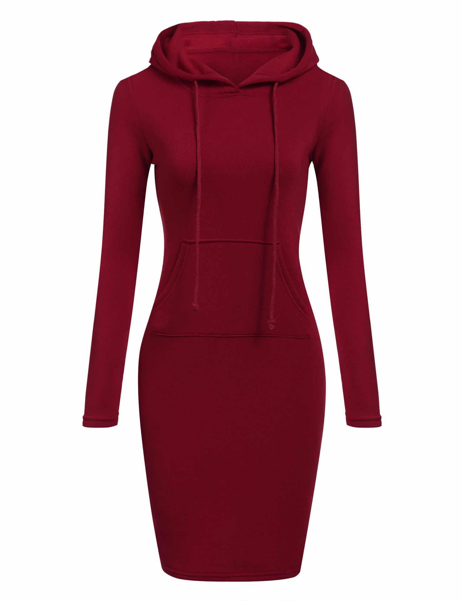 Herbst Winter Warme Sweatshirt Lange-ärmeln Kleid Frau Kleidung Mit Kapuze Kragen Tasche Einfache Casual dame Kleid Vesdies Sweatshirt