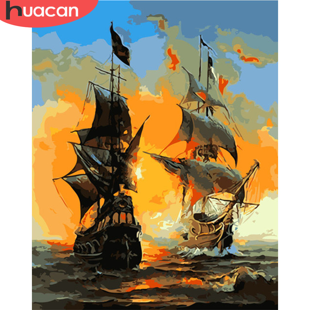 HUACAN Coloring By Number Sailboat Landscape HandPainted Kits Drawing Canvas Pictures Oil Painting Sea Home Decoration