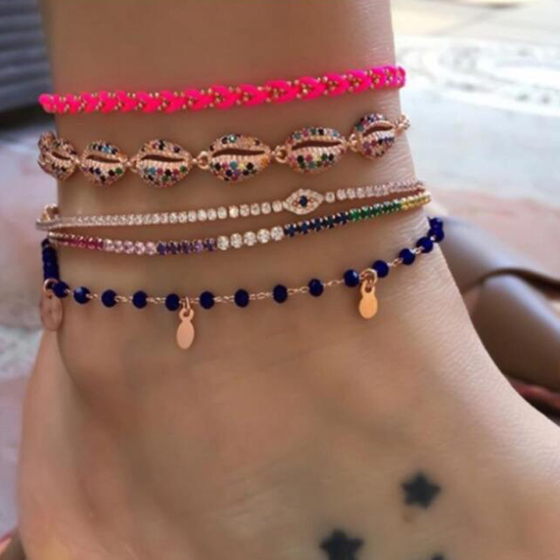Tocona 4pcs/sets Bohemian Shell Bead Anklets Shiny Clear Crystal Stone Rope Adjustable Jewelry for Women Accessories 8837
