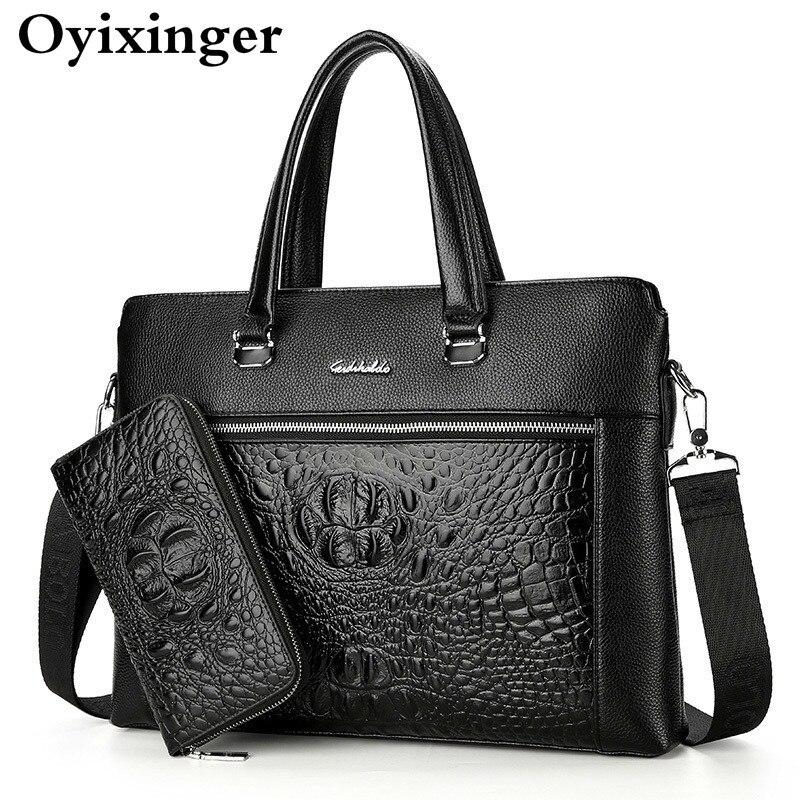 New Men Briefcase Bags Business Leather Bag Shoulder Messenger Bags Work Handbag 14 Inch Laptop Bag