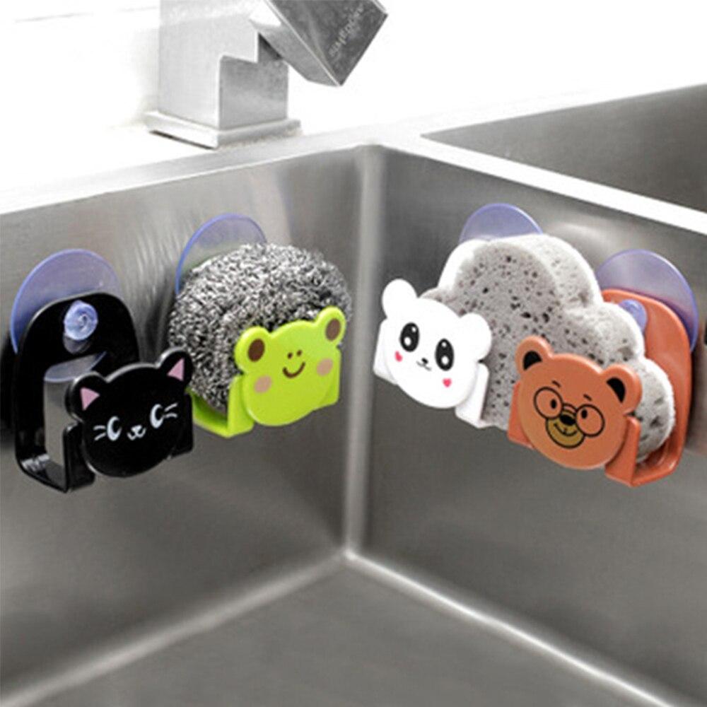 Cartoon Sponge Rag Storage Rack Sink Wall-mounted Suck Holder Soap Hanging Shelves Lovely Home Decor Kitchen Accessories