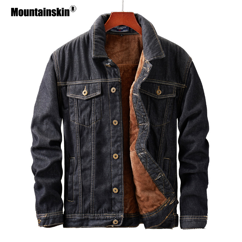 Mountainskin Men's Denim Jacket Winter Thick Velvet Mens Warm Coat Cowboy Jean Jackets Male Fashion Windproof Coats SA855