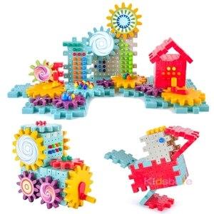 Image 4 - 키즈 3D 기어 블록 DIY 장난감 버섯 손톱 플라스틱 교육 완구 조립 빌딩 블록 키트 소년 소녀를위한 벽돌 장난감