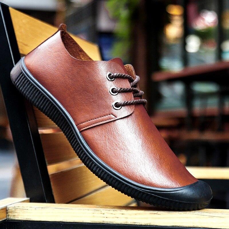 Мокасины мужские из экокожи повседневные туфли на плоской подошве