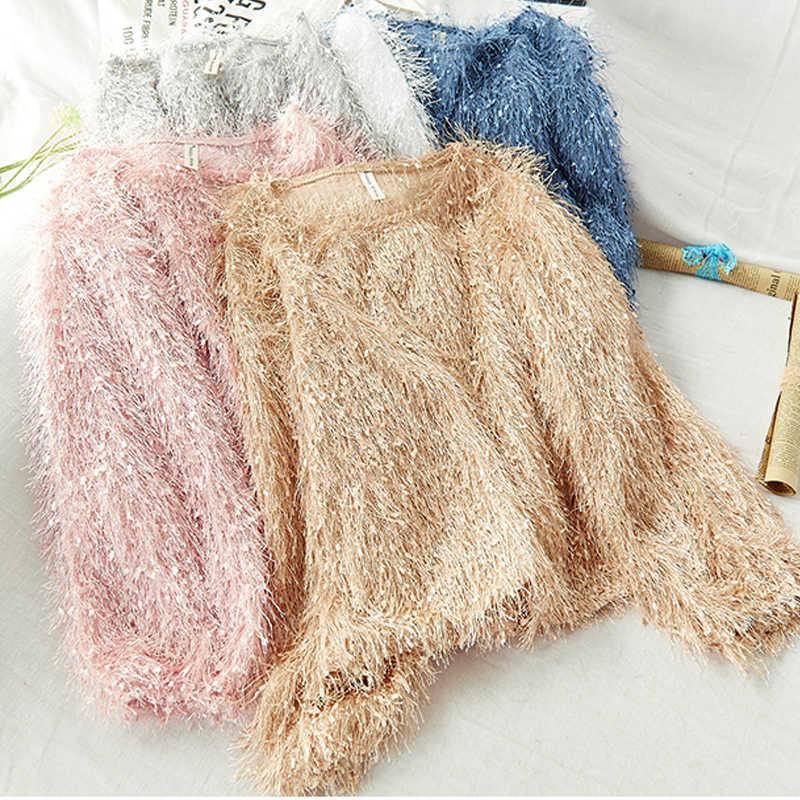 2020 autunno inverno maglione donne pullover casuale del manicotto di soffio del o collo con la nappa lavorato a maglia solido sciolto tirare ponticelli truien dames