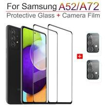 Cristal Samsung A52, cubierta completa de vidrio protector patalla para Samsung Galaxy A52 gafas de proteccion A52/A72 4G/5G protector cámara + cristal templado Samsung A 52