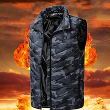 Heated Vest Men Electric Heating Vest Thermal Warm Heating Clothes Outdoor Fishing Hunting Vest Winter Camouflage Heated Jacket cheap Eillysevens CN(Origin) Cotton zipper 1007 NONE Regular MANDARIN COLLAR Pockets Casual