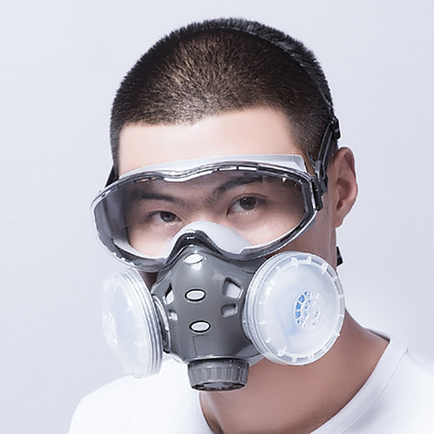 Respirator Mask(Plus Safety Glasses)-Gas Mask With 3 Filter For Breathing Eye Protection Against Dust, Organic Vapors, Chemicals