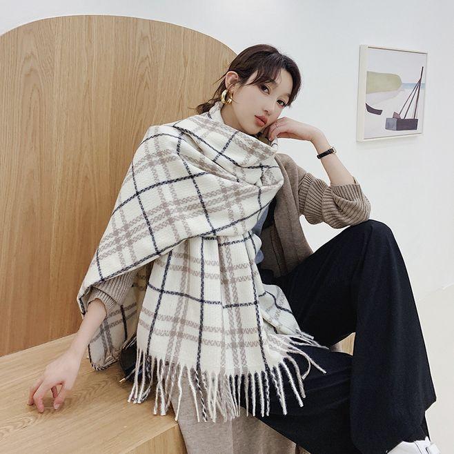 Winter Warm Women Lady Long Cashmere Wool Scarf Plaid Large Shawl Wrap Scarvf Y