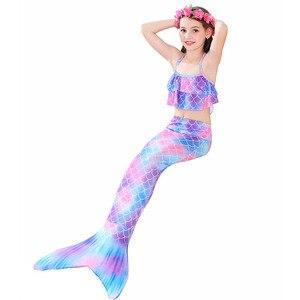 Image 5 - Bañador de cola de sirena pequeña para niños, traje de baño de sirena con guirnalda y Monofin