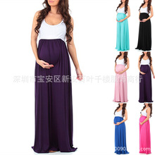 2018 Europe And America WOMEN'S Dress Solid Color Crew Neck Sleeveless Joint Big Hemline Pregnant Women One Piece Long Skirts