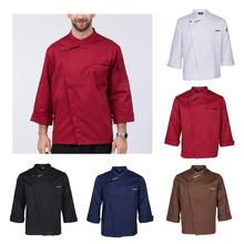 Унисекс шеф-повара куртки пальто с длинными рукавами рубашка официанта официантки кухонная униформа