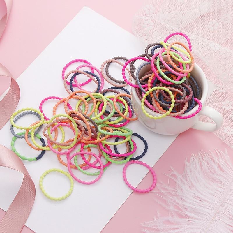 50Pcs/set Scrunchies Rubber Bands  Girl Hair Rope Headwear Women Hair Rope Candy Color Elastic Hair Band Hair Accessories