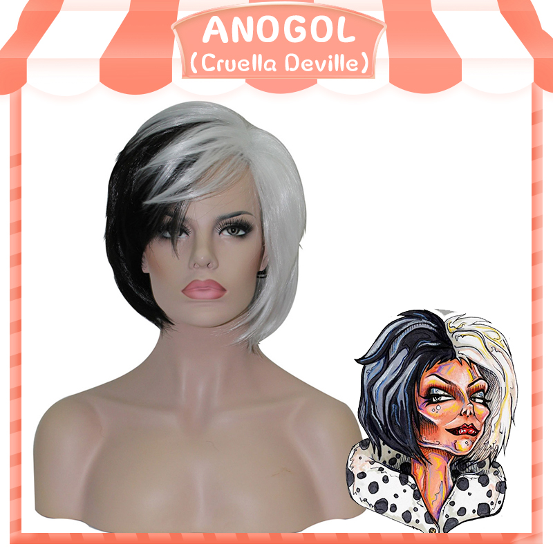 Anogol Brand New Cruella Deville Side Bangs Half White Black Layered  Synthetic Cosplay Wig For Women Party Halloween + Wig Cap