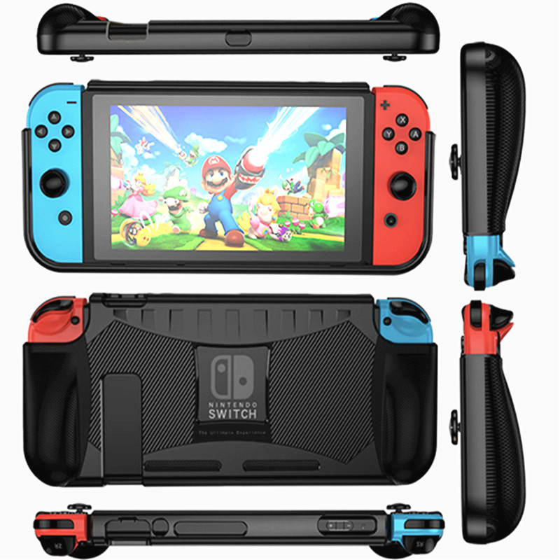 Nintend Switch  TPU Case Accessories Protection Shell 2 card Holder Ergonomic Handle Grip For Nintendo Switch Shockproof Cooling