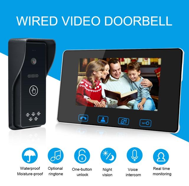 โทรศัพท์ประตูแบบมีสาย 7 สี LCD กันน้ำกล้อง IR Night Vision ระบบอินเตอร์คอม