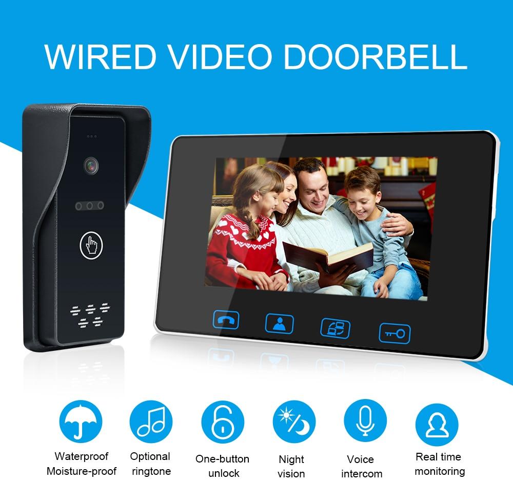 Visiophone filaire 7 couleur LCD avec visionneuse de caméra à sonnette numérique étanche système d'interphone à Vision nocturne IR - 1