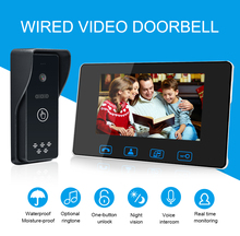 "Wired Video Tür Telefon 7 ""Farbe LCD Mit Wasserdichte Digitale Türklingel Kamera Viewer IR Nacht Vision Intercom System"