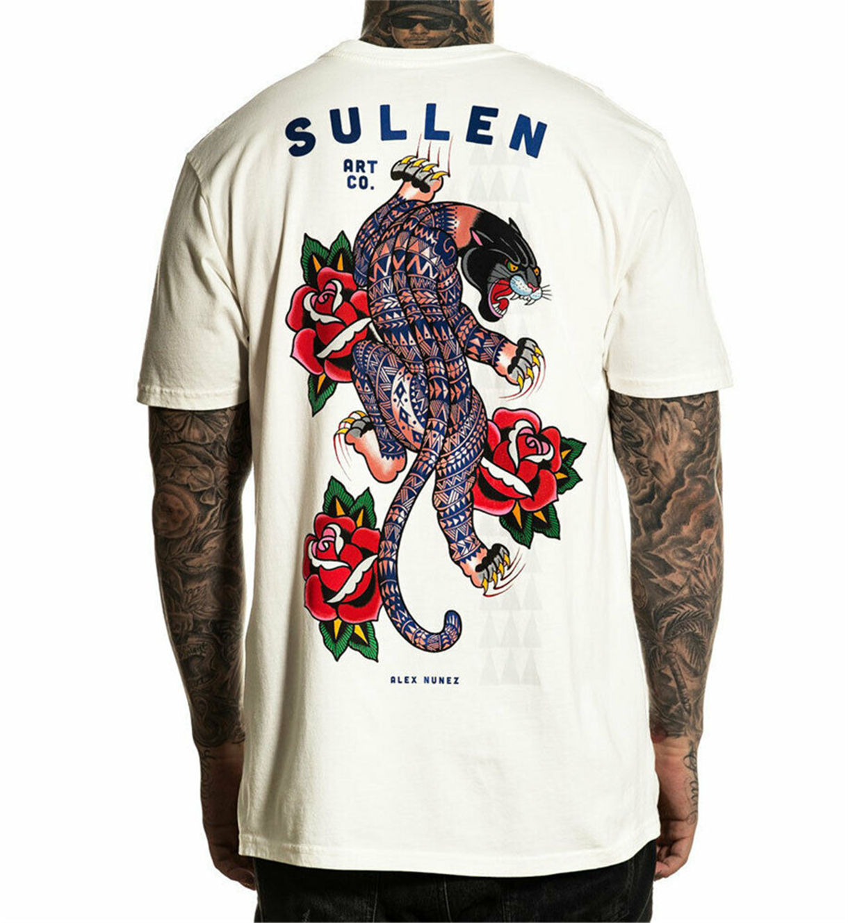 Sullen Men's Poly Panther Short Sleeve T-Shirt White Clothing Tops Tee Shirt Personality Custom(China)