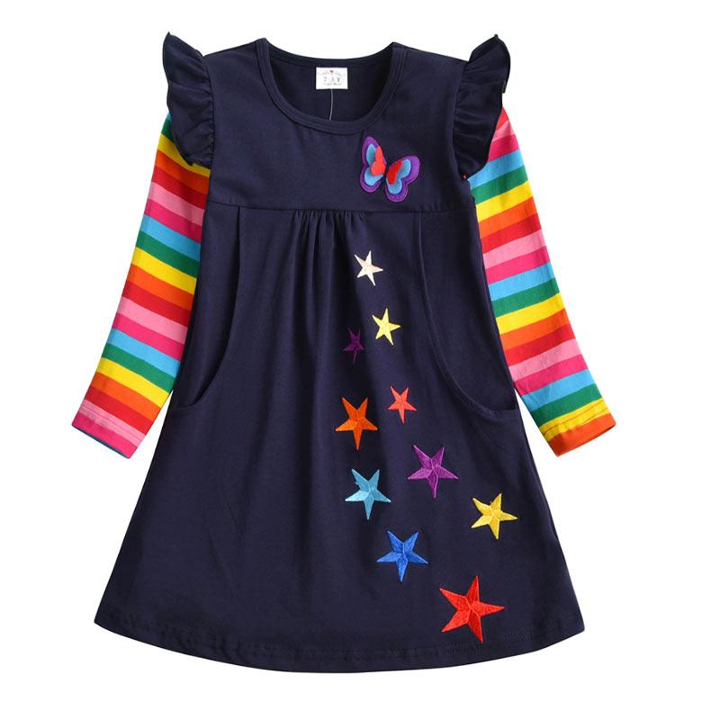 H42a821ef943048e39c3560106f10689f9 VIKITA Girls Cotton Dress Long Sleeve Children Patchwork Vestidos Kid Dresses for Girls Clothes Toddlers Cartoon Princess Dress