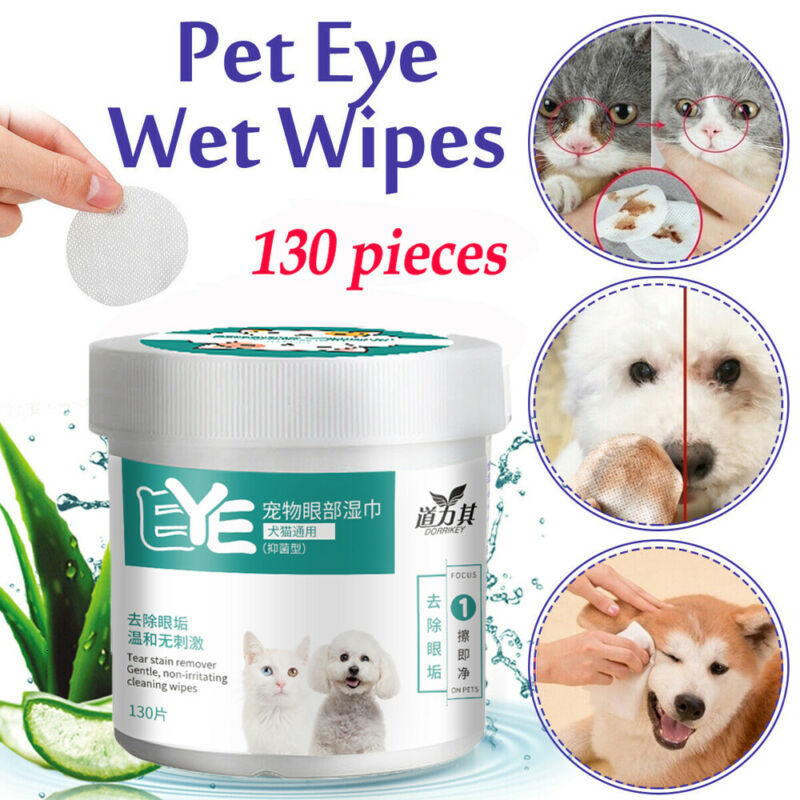 130 PCS/A Lot Pets Dogs Cats Wipe Pet Eye Wet Wipes Dog Cat Tear Stain Remover Pet Eye Grooming Wipes Pet Grooming Supplies Pets