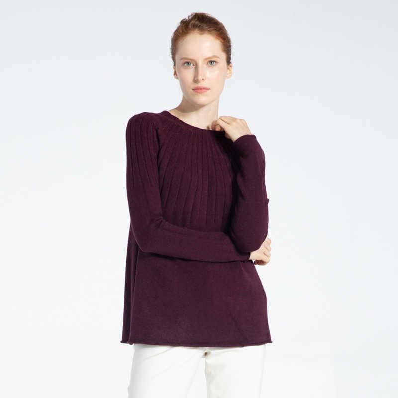 Marwin 2019 Новое поступление Твердые o-образным вырезом с рюшами толстые женские свитера высокий уличный стиль мягкие теплые женские вязаные пуловеры