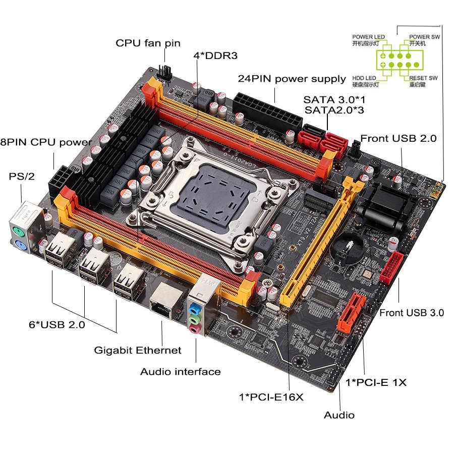Conjunto de placa-mãe qiyida x79, com xeon lga2011 e5 2620 4x4gb = 16gb 1333mhz ddr3 ecc reg memória matx nvme lga2011, placa-mãe x79 6m