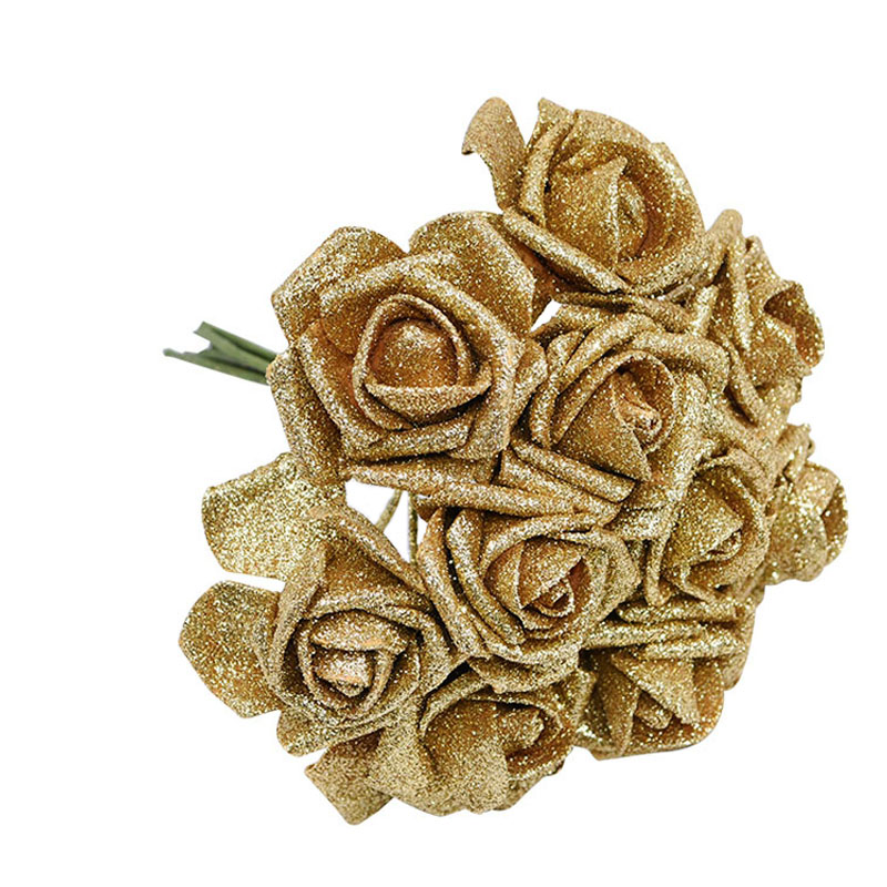 10Pcs Glitter Foam Rose Artificial Flowers Bouquet Wedding Decoration Flower Rose Home Decoration Flores Fake Rose Flower