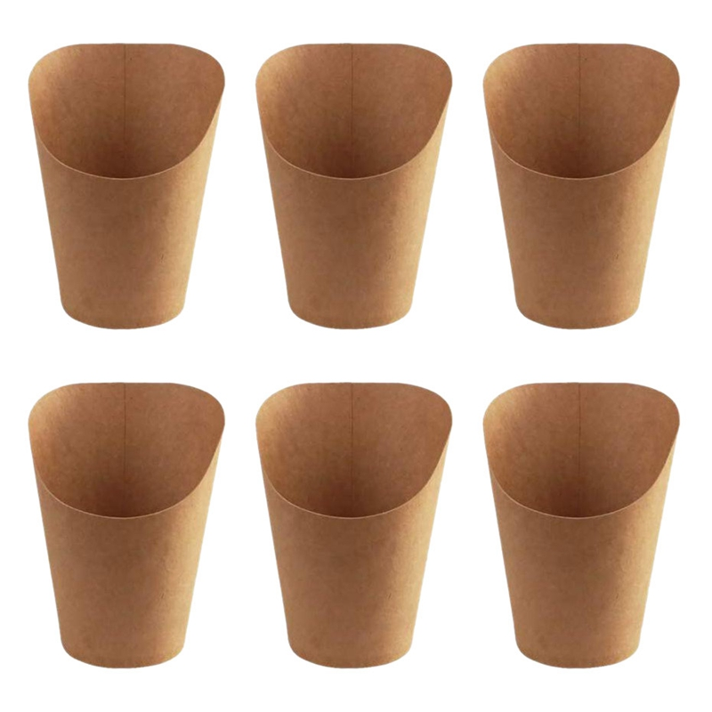 100Pcs Disposal Take-Out Party Dessert Supplies Baking Cakes Egg Puff French Fries Chips Snacks Kraft Paper Cups Holder, 300Ml (