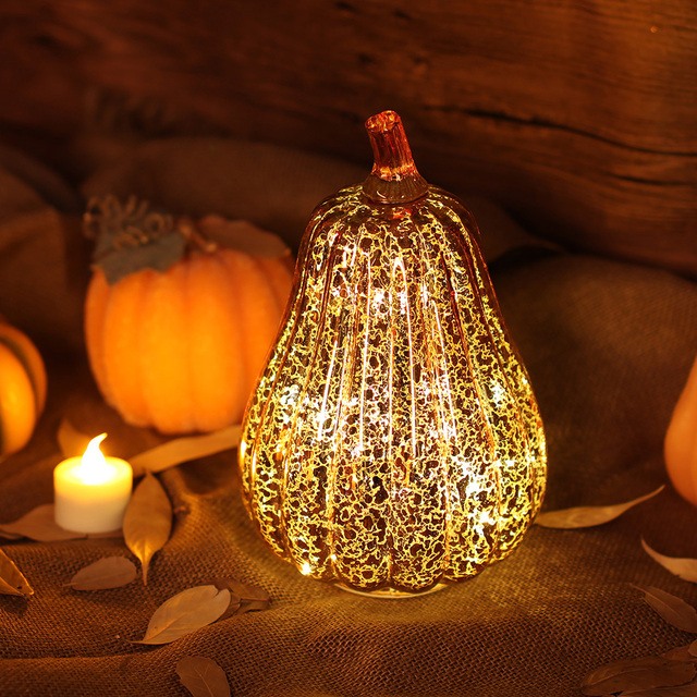 Glass Pumpkin Light LED Glowing Delicate Halloween Decorative Lamp Party Supplies for Thanksgiving Halloween Fall Decorations