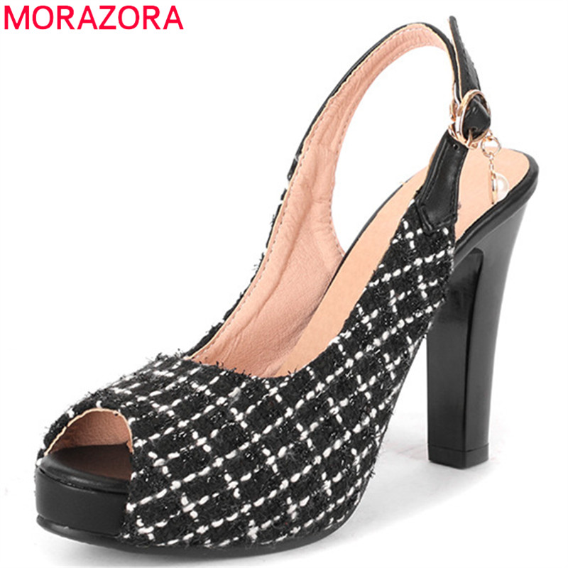 MORAZORA 2020 elegant high heel platform sandals women shoes peep toe buckle summer party prom shoes ladies sandals big size 43