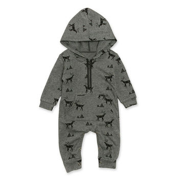 Deer Print Gray Hooded Jumpsuit