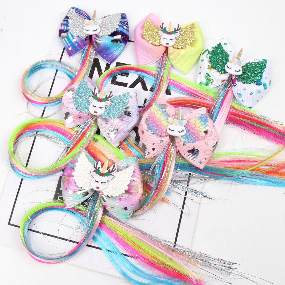 Hair Clip For Girls Handmade Hair Bows With Unicorn Glittler Wings Hairpins Kids Colorful Long Pigtails Hair Accessories
