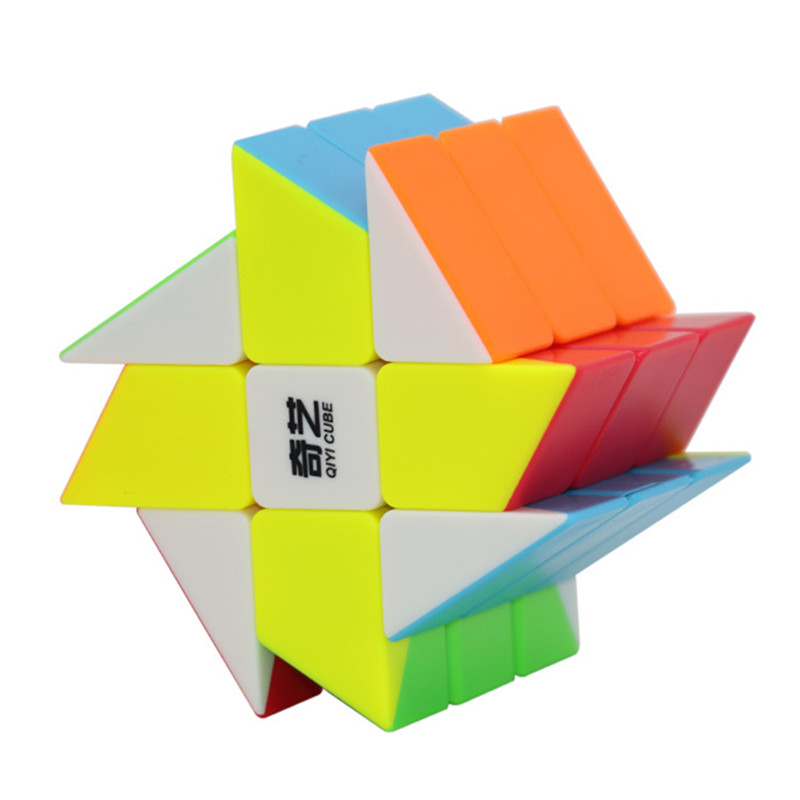 Qiyi 3x3 Windmill Cube Magic Puzzle Brain Teaser Brushed Sticker 56mm Educational Black Twisty Stickerless Toys For Kids