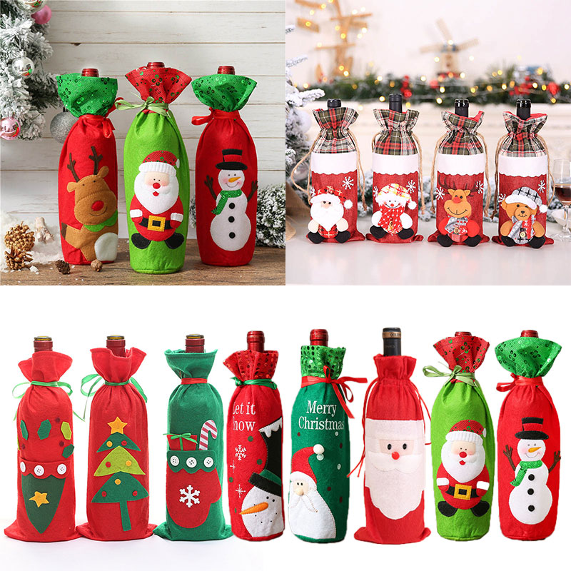 Red Green Santa Claus Snowman Christmas Wine Bottle Cover Bag Bottle Gift Holder Decor New Year Party Dinner Table Decoration